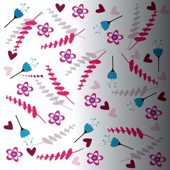 Creative floral pattern Blue, pink
