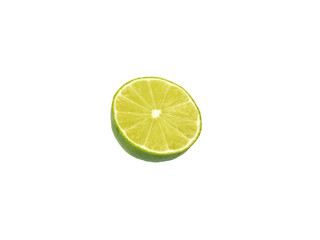 Lime cut in half on white background