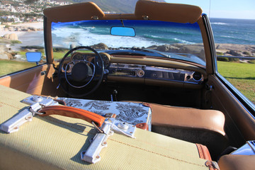 Blue classic car trunks