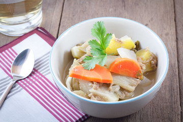 hot and sour soup vegetables : Delicious thai traditional food (