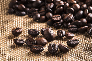 coffee beans and brown wall