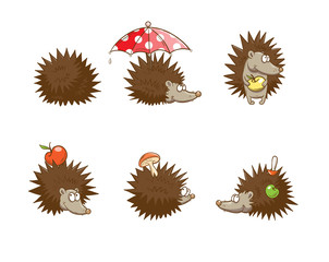 Set with six cute cartoon hedgehogs, hedgehogs do stocks for the winter. Autumn time.