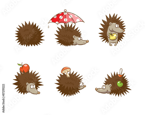 Set with six cute cartoon hedgehogs hedgehogs do stocks for the winter autumn time imagens - Autumn plowing time all set for winter ...