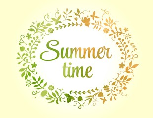 Vector floral frame summer time