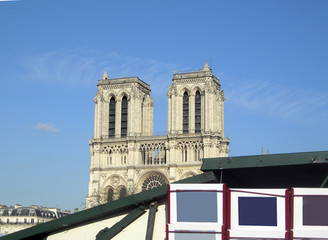 Paris France view of Notre Dame from left bank River Seine kiosk