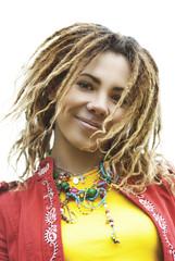 smiling beautiful woman with dreadlocks