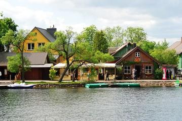 Galves lake,Trakai old city old houses view