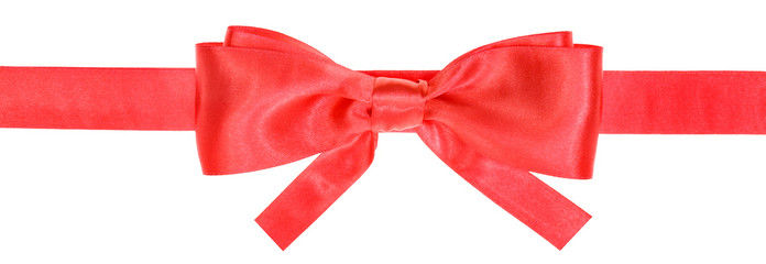 red ribbon and real bow with square cut ends
