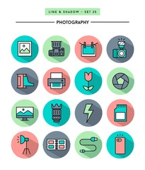 set of flat design,long shadow, thin line photography icons