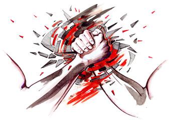 Fotobehang Schilderingen armwrestling