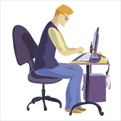 Man sitting in front of his computer and working.