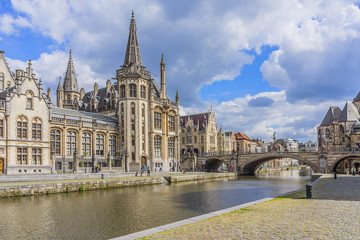 View of picturesque houses along channel in Ghent. Belgium.
