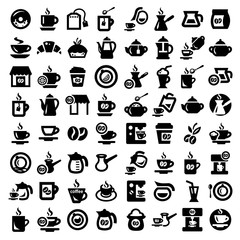 big coffee and tea icons set
