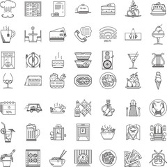 Restaurant flat line icons collection