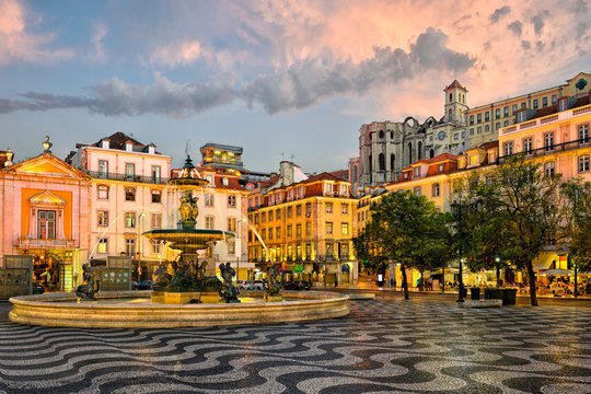 Rossio square in Lisbon, Portugal