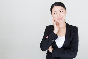 Wall Mural - asian businesswoman on white background