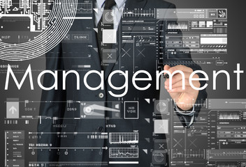 businessman writing Management and drawing graphs and diagrams