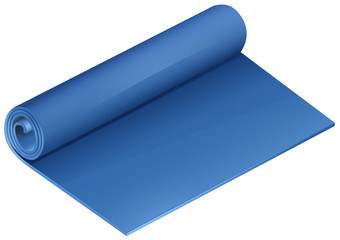 Blue yoga mat on white