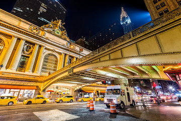 Pershing Square, in Manhattan, New York City at the intersection of Park Avenue and 42nd Street in front of Grand Central Terminal