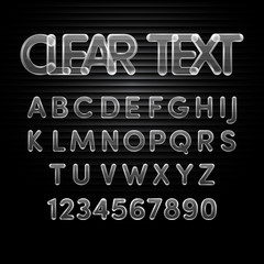 Transparent alphabet A to Z and number 0 to 9.Vector illustratio