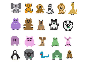 8bit Animal Set ; Vector Illustration