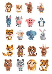 Animal pixel  ; Vector illustration