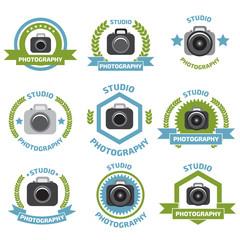 Foto studio logo set. Foto studio emblem. Photo studio logo set.