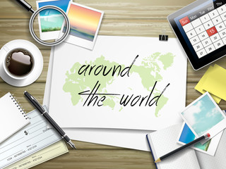 around the world written on paper