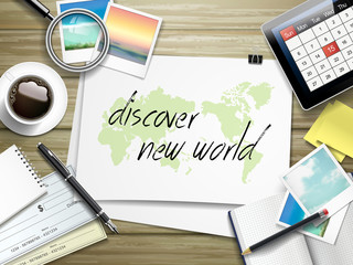 discover new world written on paper