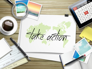 take action written on paper