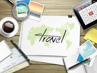 travel word written on paper