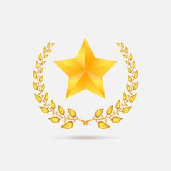 Golden laurel wreath with star.