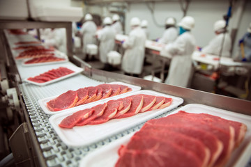 Keuken foto achterwand Vlees Pork chops at handling factory packaging plant raw organic