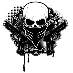 skull and two pistols with grunge background.Design element in vector