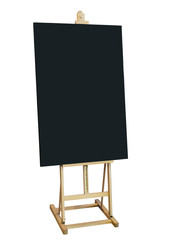 Mock up Blackboard with Wooden Stand isolated Shop Menu sign
