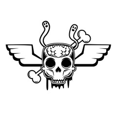 skull with wings and two worms