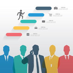 Colorful silhouette businessman with step icons