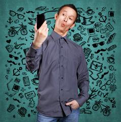Asian Man Making A Selfie