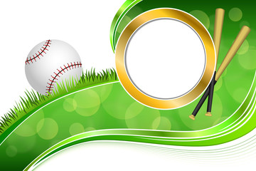Background abstract green grass baseball ball gold circle frame illustration vector