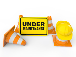 3d under maintenance sign board and construction cones