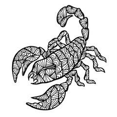 Stylized vector Scorpion, zentangle