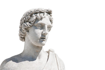 Marble head of antique statue isolated on white Wall mural