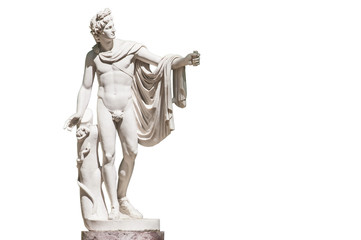 Photo Blinds Historic monument Statue of Apollo Belvedere isolated on white