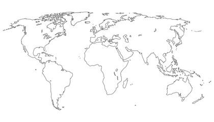 Weltkarte neutral in weiß - Vektor