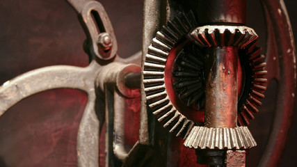 Bevel Gear mechanism. An example of a bevel gear mechanism on an old piece of machinery.