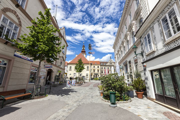 Town Hall in the pedestrian area in the city center of Mödling - Lower Austria