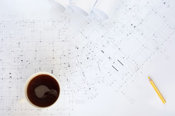 Construction plans and coffee