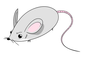 Cute Mouse, a hand drawn vector illustration of a cute mouse with a scar on its face, isolated on a white background (editable).