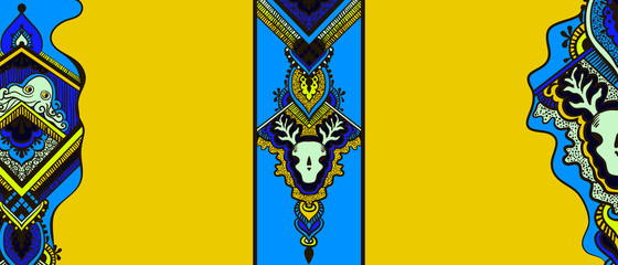 Pattern with a octopus and a skull of a deer in the ethnic style on a yellow background