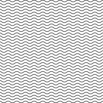 Black seamless wavy line pattern